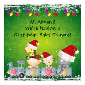 """Cute Animals & Girl on Train Christmas Baby Shower 5.25"""" Square Invitation Card"""