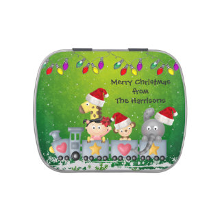 Cute Animals & Girl on Train Christmas Party Favor Candy Tins