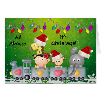 Cute Animals Girl on Train Colorful Christmas Cards
