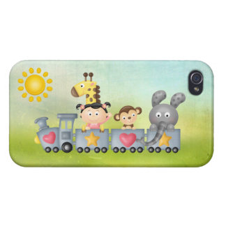 Cute Animals & Girl on Train iPhone 4 Case