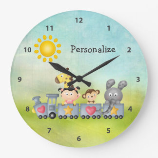 Cute Animals & Girl on Train Large Clock