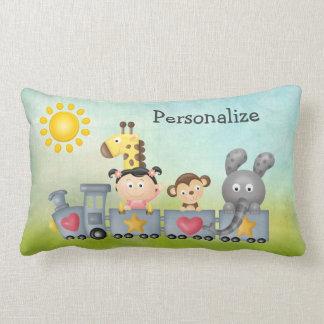 Cute Animals & Girl on Train Lumbar Pillow