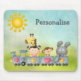 Cute Animals & Girl on Train Mousepad