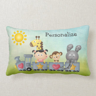Cute Animals & Girl on Train Pillow