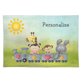 Cute Animals & Girl on Train Placemat Cloth Placemat