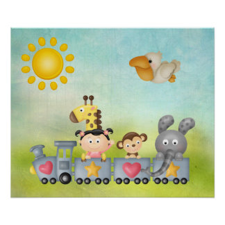 Cute Animals & Girl on Train Poster