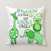 Cute Animals Green Message Earth Day Throw Pillow
