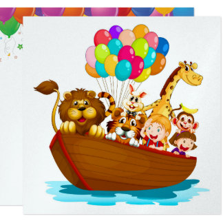 Cute Animals in Boat with Balloons Invitation