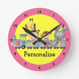 Cute Animals in Train Pink & Yellow Clock