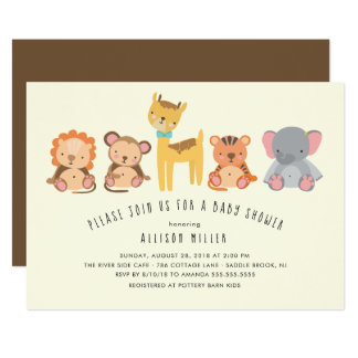 Cute Animals Jungle Baby Shower Invitation