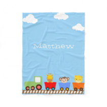 Cute Animals on Train Fleece Blanket
