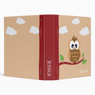 Cute Animals Owl 3 Ring Binder