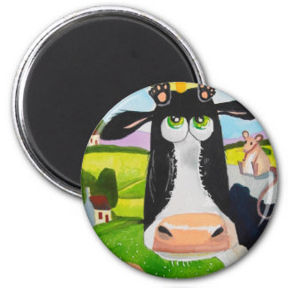 Cute animals painting Cow cat sheep frog 2 Inch Round Magnet