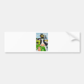 Cute animals painting Cow cat sheep frog Bumper Sticker