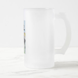 Cute animals painting Cow cat sheep frog Frosted Glass Beer Mug