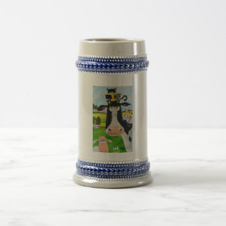 Cute animals painting Cow cat sheep frog 18 Oz Beer Stein