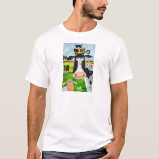 Cute animals painting Cow cat sheep frog T-Shirt