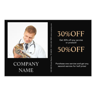 cute animals pet service veterinary flyers