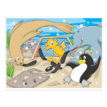 Cute Animals Player Water Hockey Goal Game Postcard