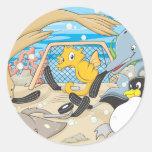 Cute Animals Player Water Hockey Goal Game Sticker