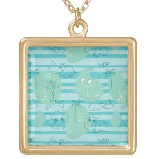 Cute animals playing with water 1 gold plated necklace