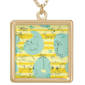 Cute animals playing with water 2 gold plated necklace