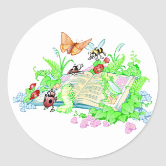 Cute Animals Reading Book Classic Round Sticker