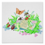 Cute Animals Reading Book Poster