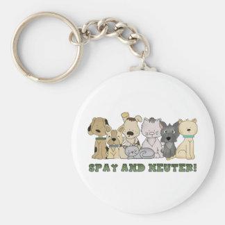 Cute Animals Spay and Neuter Text Basic Round Button Keychain