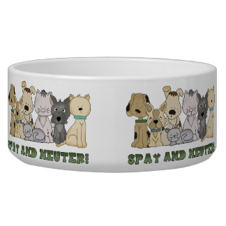 Cute Animals Spay and Neuter Text Bowl