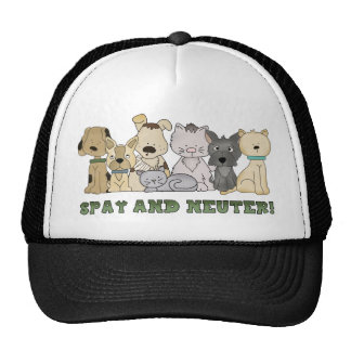 Cute Animals Spay and Neuter Text Mesh Hats