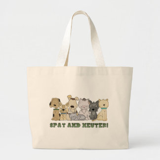 Cute Animals Spay and Neuter Text Large Tote Bag