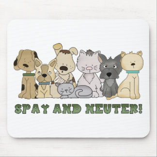 Cute Animals Spay and Neuter Text Mouse Pad