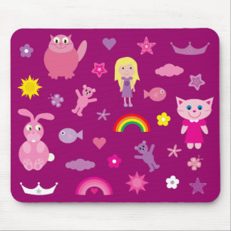 Cute Animals & Stuff For Girls Customizable Pink Mouse Pad