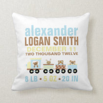 Cute Animals Toy Train Birth Announcement Throw Pillow