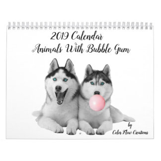 Cute Animals With Bubble Gum 2019 Calendar
