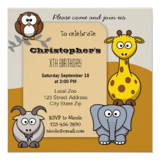 Cute Animals Zoo Kids Birthday Party Invitation