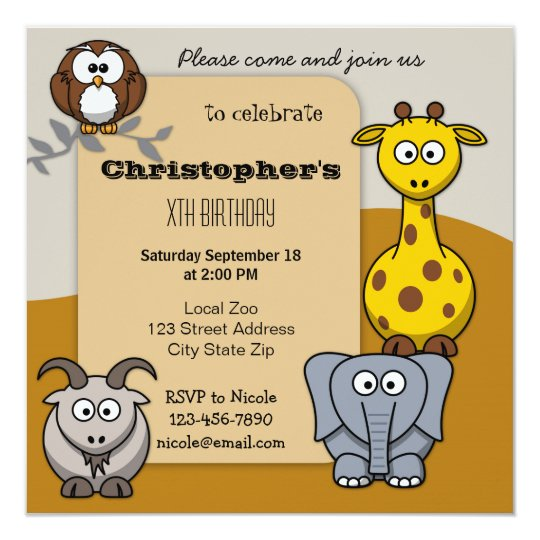 4th Birthday Party Invitations Boy Animals