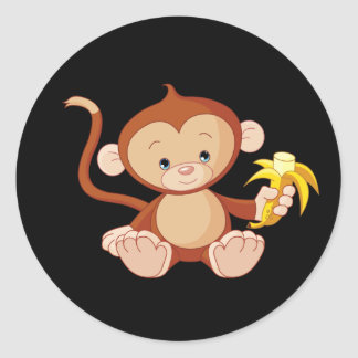cute animate monkey with banana classic round sticker