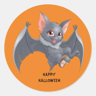 Cute animated Bat Classic Round Sticker