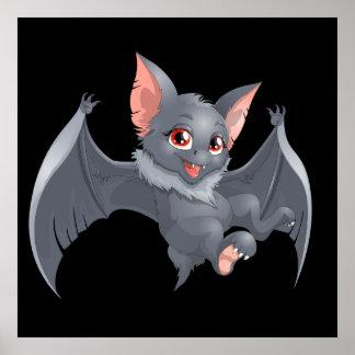 Cute animated Bat Poster