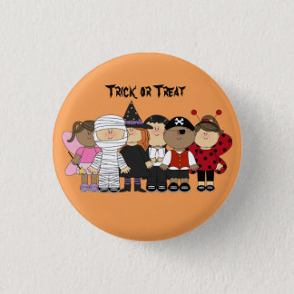 Cute animated children with Halloween Costumes Button