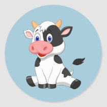Cute animated Cow round sticker
