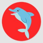 Cute Animated Dolphin Classic Round Sticker