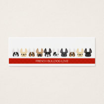 Cute animated French Bulldogs Mini Business Card