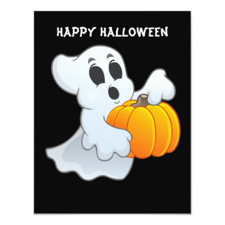 Cute animated Ghost with Pumpkin Card