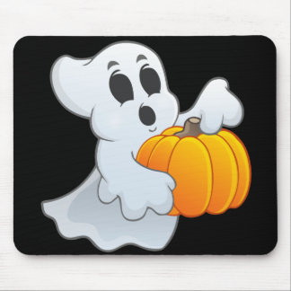 Cute animated Ghost with Pumpkin Mouse Pad