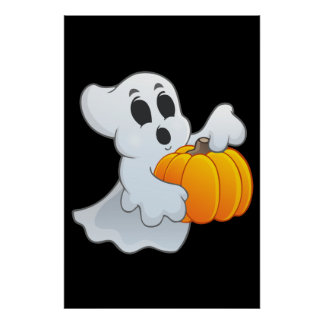 Cute animated Ghost with Pumpkin Poster
