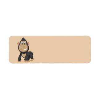 Cute Animated Gorilla Label