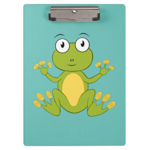Cute Animated Green Frog Clipboard